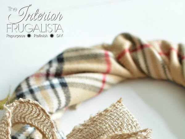 A Quick And Easy Fake Burberry Scarf Fall Wreath