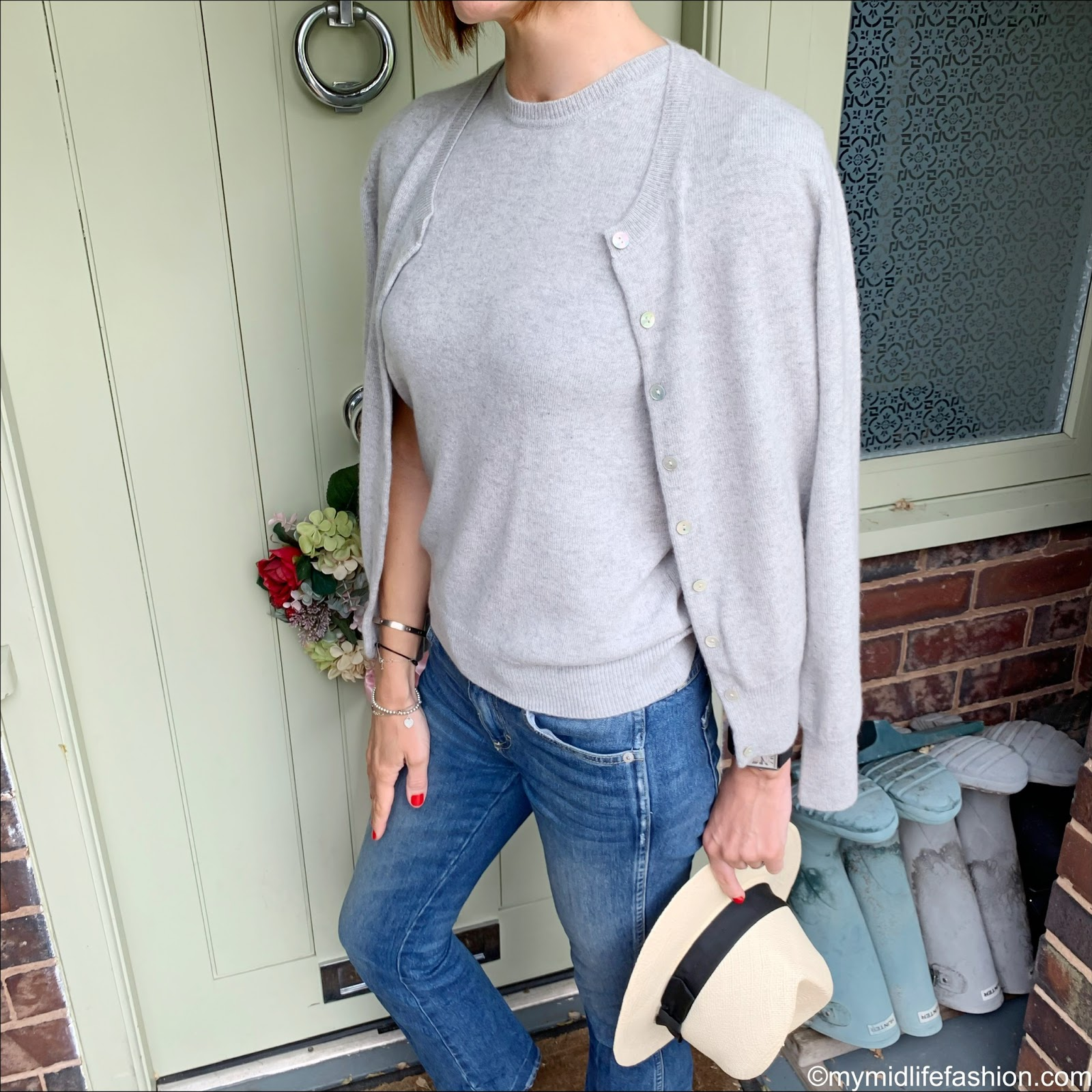 my midlife fashion, marks and Spencer luxury Panama hat, marks and Spencer pure cashmere button detail cardigan, marks and Spencer pure cashmere short sleeve crew neck jumper, j crew suede pointed tassel flats, j crew cropped kick flare jeans
