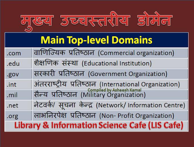 मुख्य उच्चस्तरीय डोमेन (Main Top-level Domains)