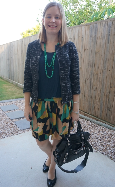 navy green and black printed skirt and boucle blazer business causal office outfit | away from blue