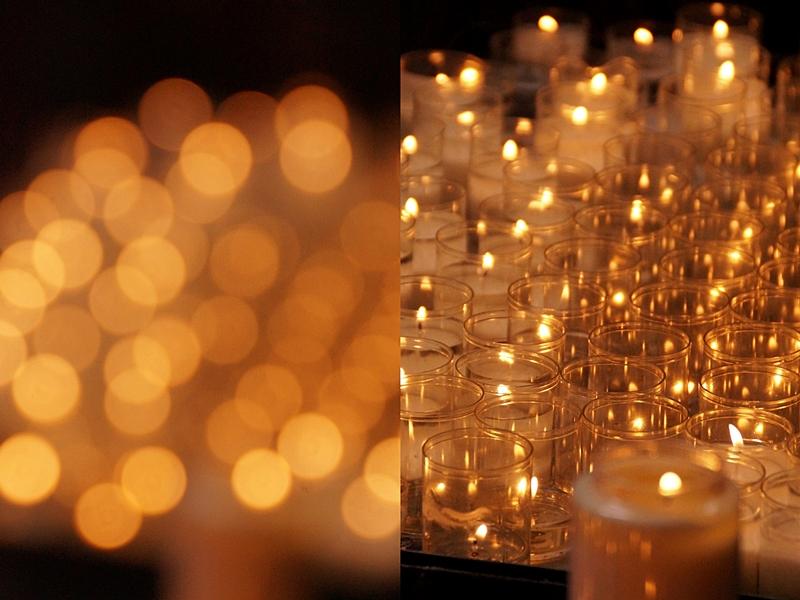 Kerzen in der Kathedrale St. Michael und St. Gudula, Brüssel
