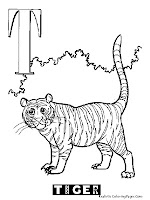 Tiger Animal Alphabet Coloring Pages Printable