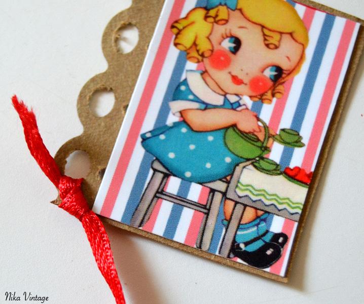 diy, marca - paginas, vintage, recotable niña