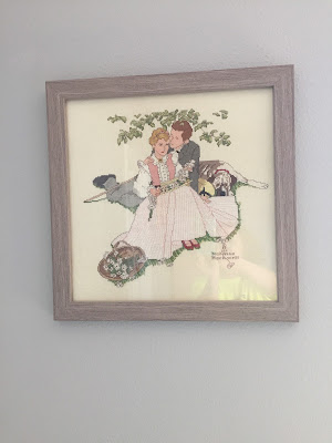 #millsnewhouse, master bedroom, wall art, cross stitch, Norman Rockwell