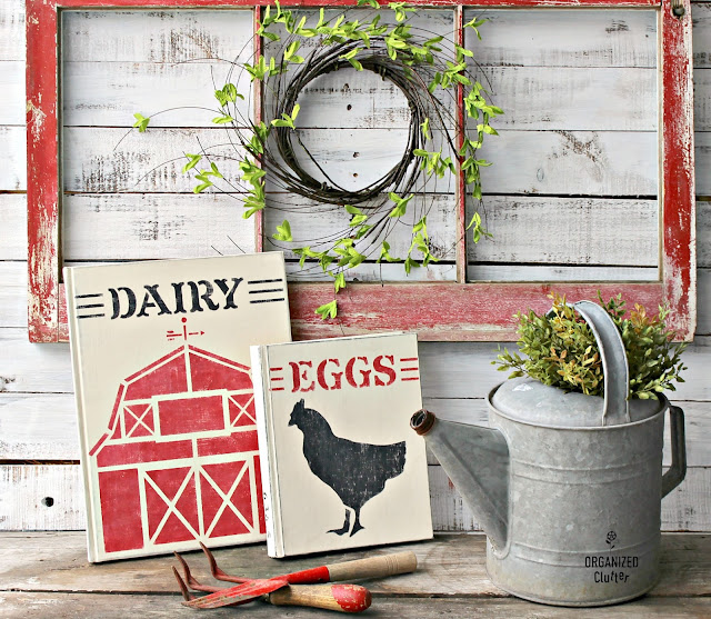 Upcyled & Stenciled  Farmhouse Style Thrift Shop Books