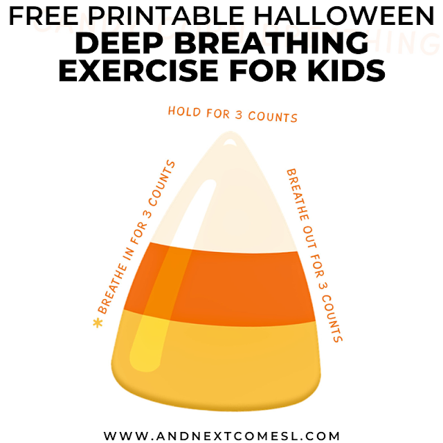 Halloween candy corn themed breathing exercise for kids with free printable poster
