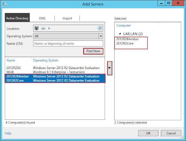 الإدارة عن بعد مع Server Manager في Windows Server 2012 R2