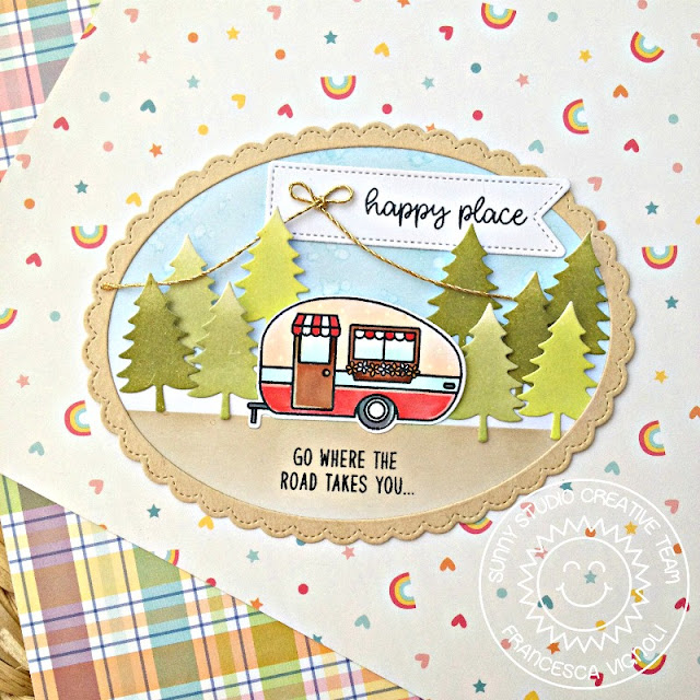 Sunny Studio Stamps: Happy Camper Fancy Frames Oval Shaped Happy Place Card by Franci Vignoli