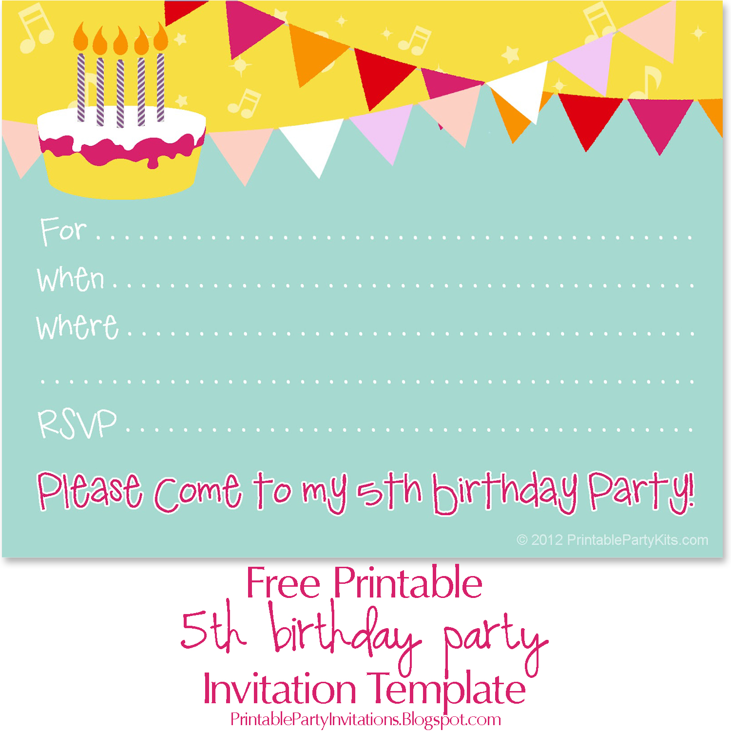 Free Printable Invite For A 5th Birthday Party