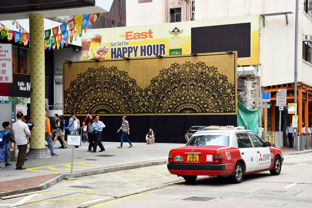 Hong-Kong is currently booming with Street Art, murals and installation, another festival popped up under the name QRE Urban Art Festival. The first artist to complete her piece is Nespoon