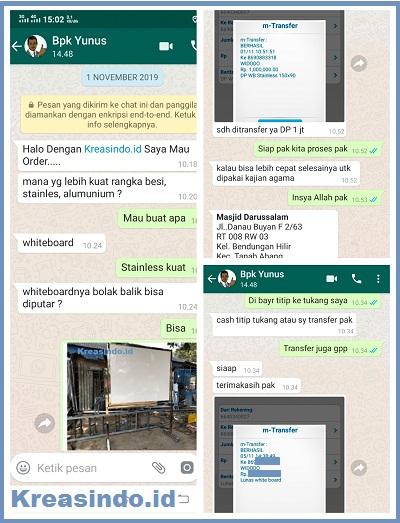 Papan White Board Rangka Stainless pesanan Masjid Darussalam Tanah Abang Jakarta