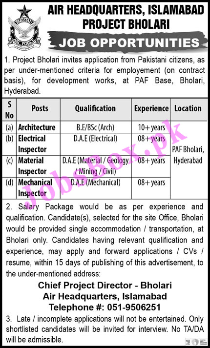 PAF Air Headquarters Islamabad Jobs 2021 for Bholari Project
