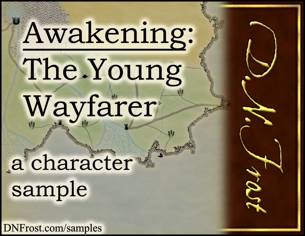 Awakening, The Young Wayfarer: start reading free http://www.dnfrost.com/2017/05/awakening-young-wayfarer-character.html #TotKW A character sample by D.N.Frost @DNFrost13 Part of a series.