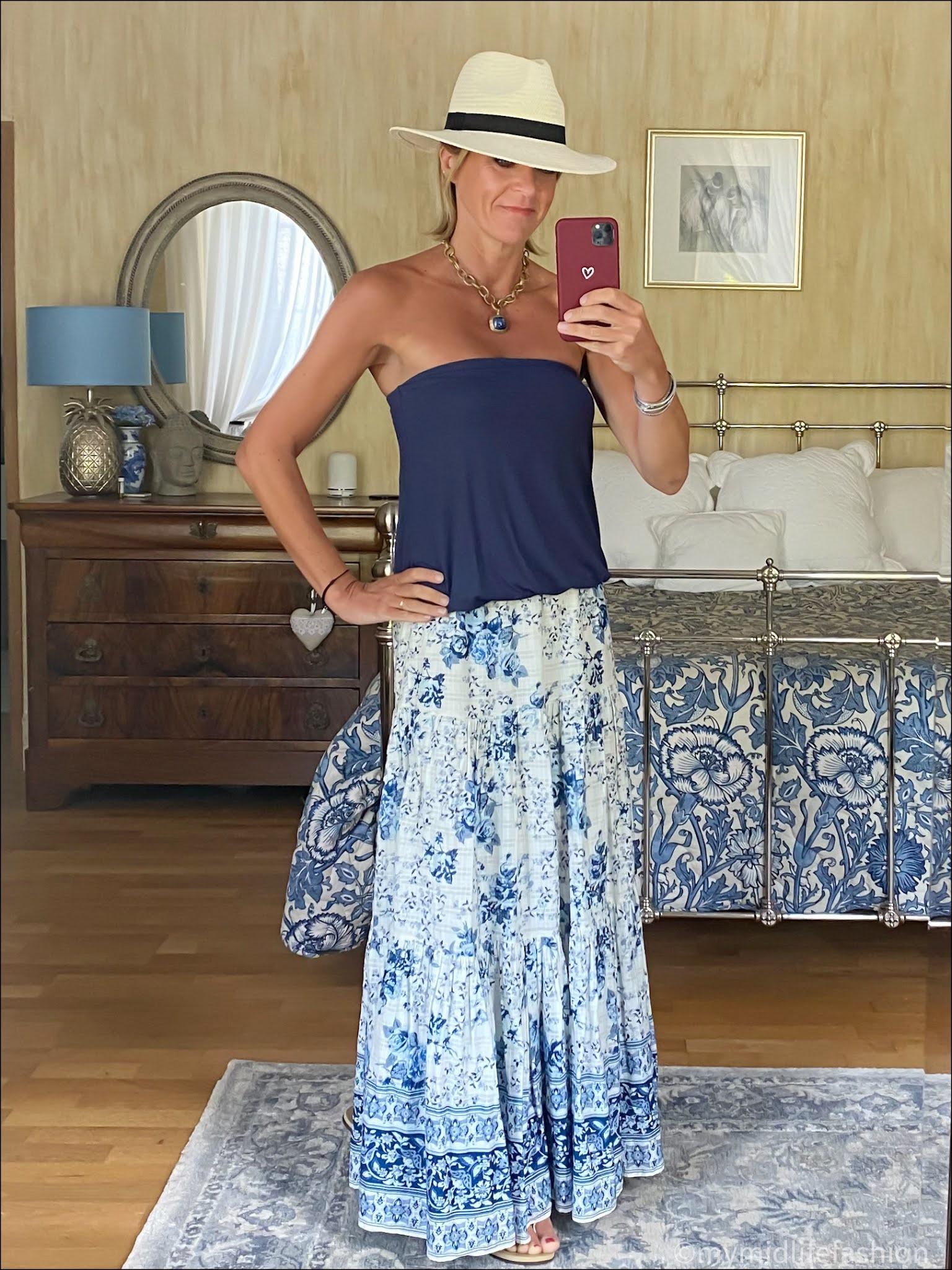my midlife fashion, Baukjen Mae top, Zara Panama hat, Zara tiered floral maxi skirt, havaiana gold slim fit flip flops