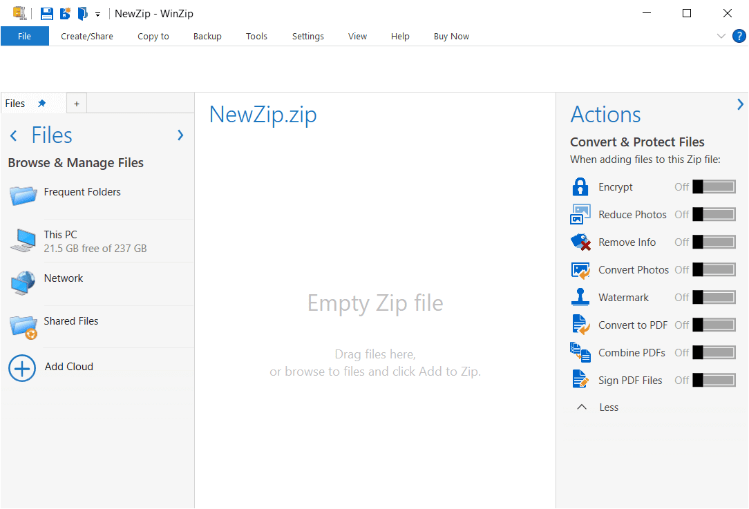 WinZip Main Interface Screenshot