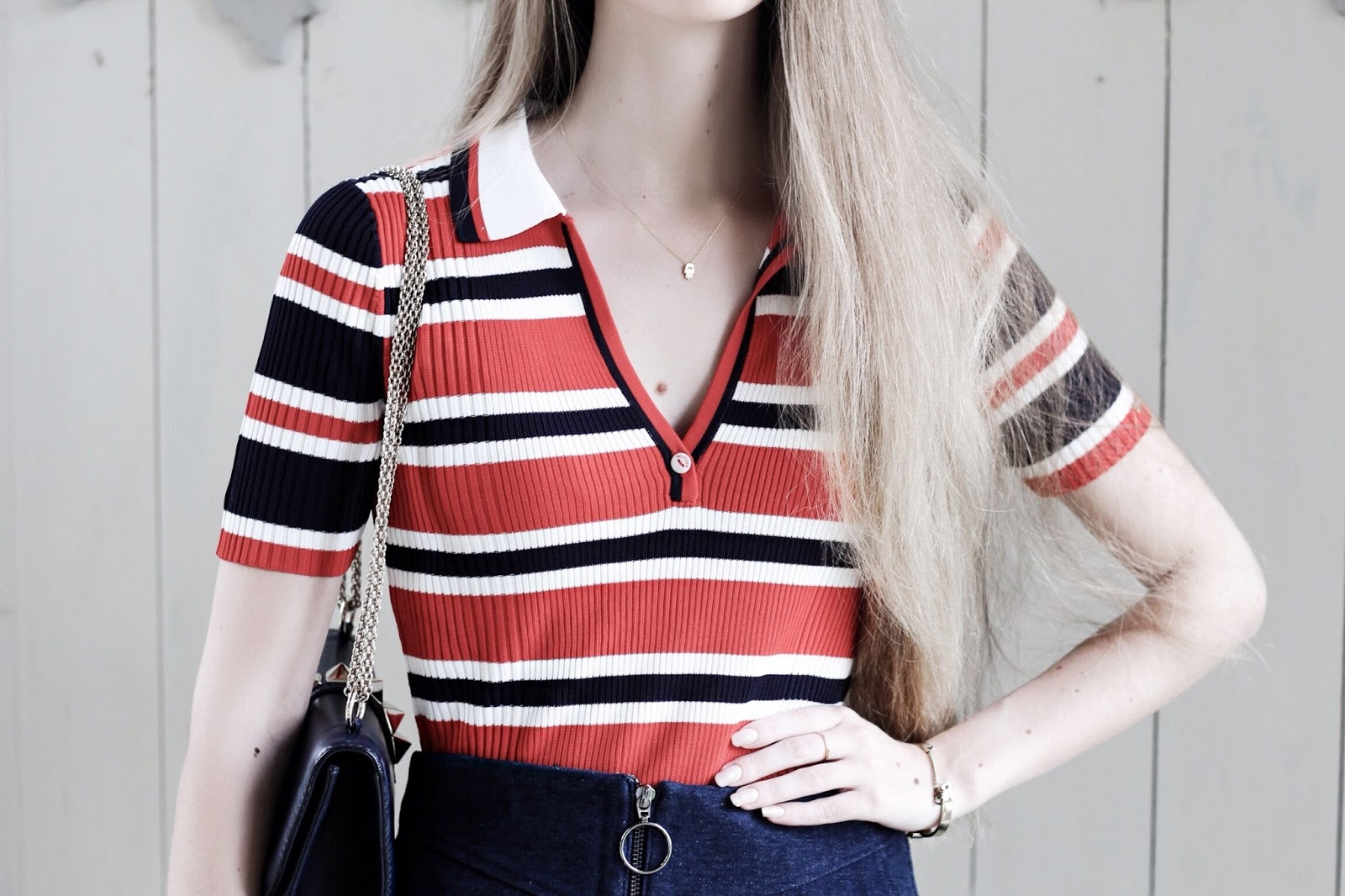 Tommy Hilfiger Red Striped Erin Polo Top