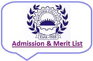 Barjora College Merit List
