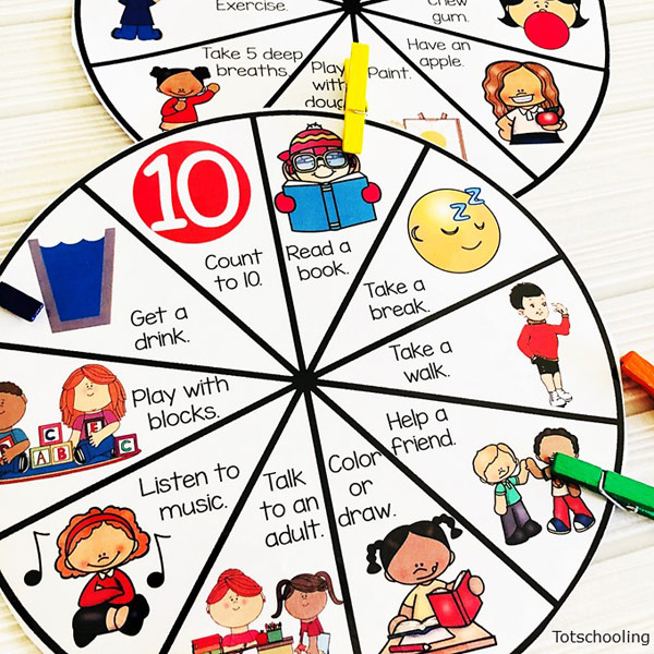 Coping Skills Clip Wheels | Totschooling - Toddler