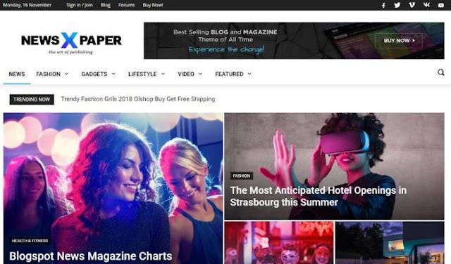 Download Gratis Newspaper 9 Premium Blogger Template