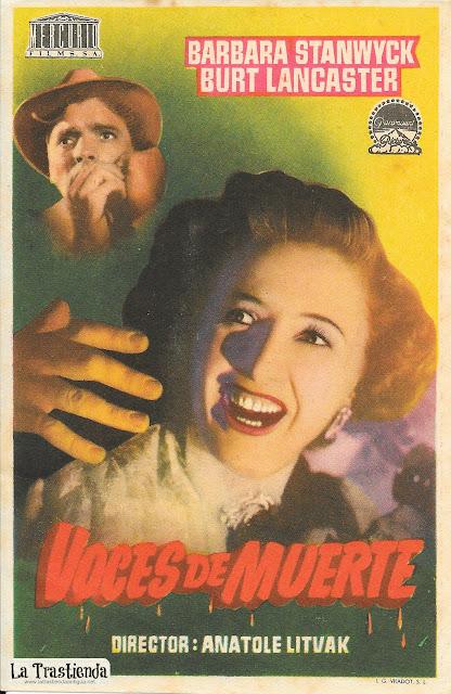 Voces de Muerte - Programa de Cine - Barbara Stanwick - Burt Lancaster