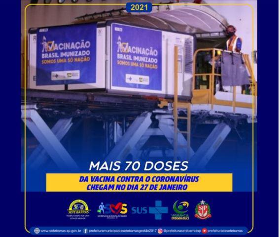 SETE BARRAS RECEBERÁ O SEGUNDO LOTE DE VACINAS CONTRA COVID-19