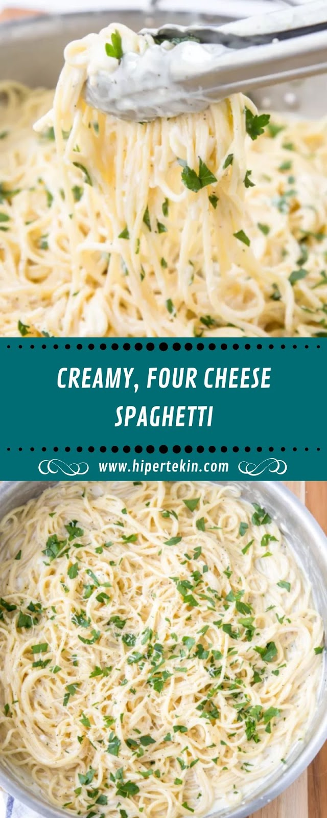 CREAMY, FOUR CHEESE SPAGHETTI