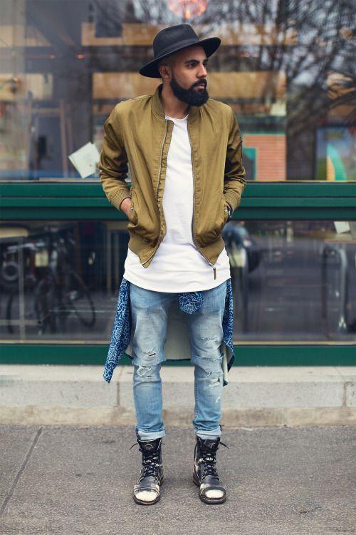 look masculino com jaqueta bomber marrom