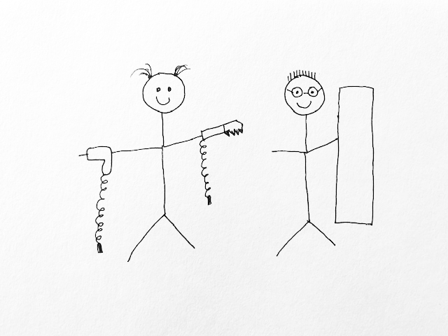 stick figure drawing of project start
