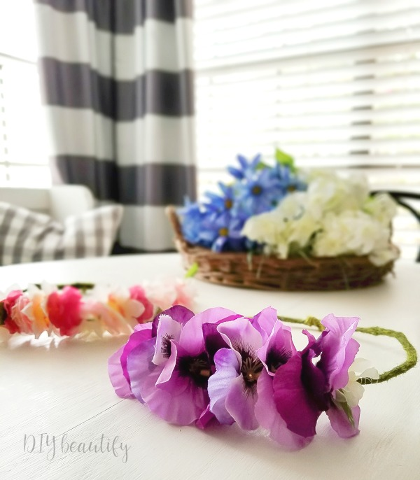 easy DIY flower crowns from dollar store florals