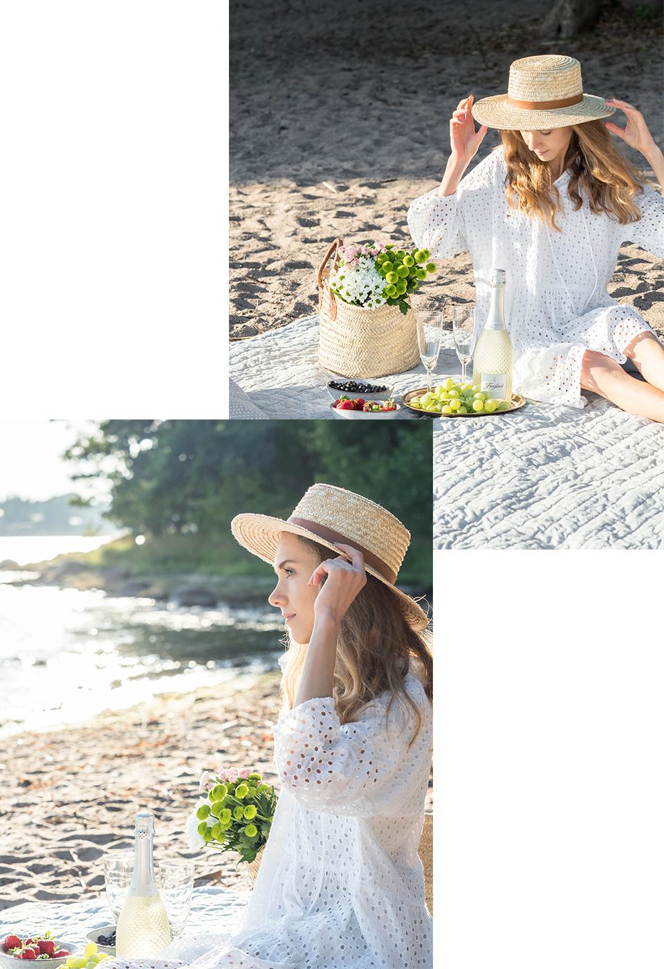 Woman on a beach, white dress, straw hat, prosecco, picnic - Nainen rannalla, valkoinen kesämekko, olkihattu, piknik, kuohuviini