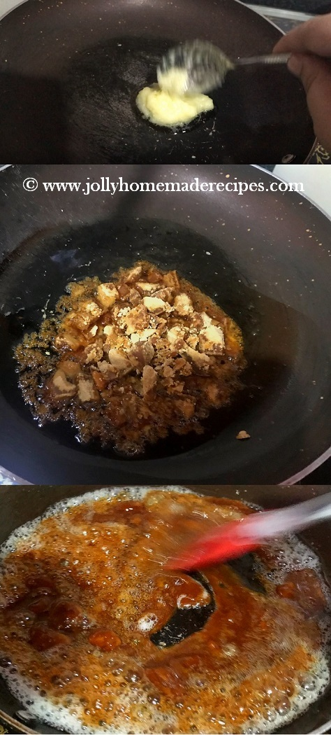 jaggery melts completely or bubbles form
