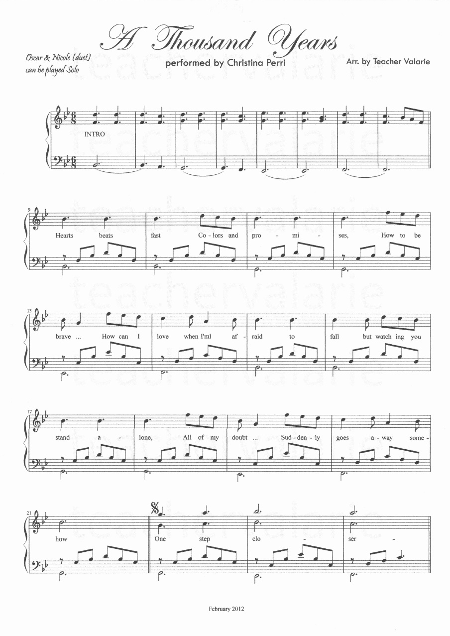 Solo Piano Partituras Christina Perri A Thousand Years