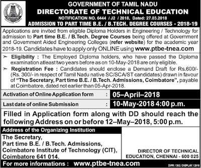 Tamil Nadu Admission Notification to Part Time BE, B Tech Courses 2018-2019