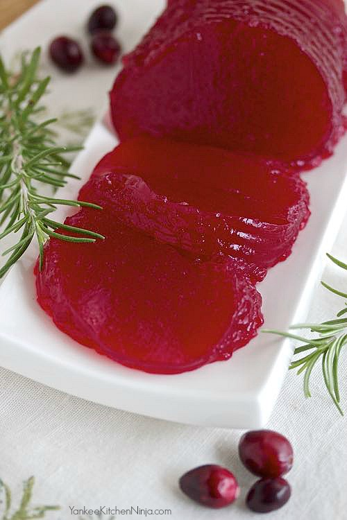 Homemade canned cranberry sauce made in a can mold