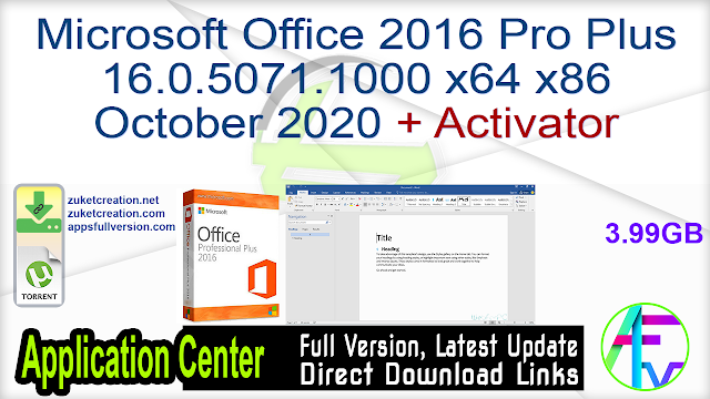 Microsoft Office 2016 Pro Plus 16.0.5071.1000 x64 x86 October 2020 + Activator