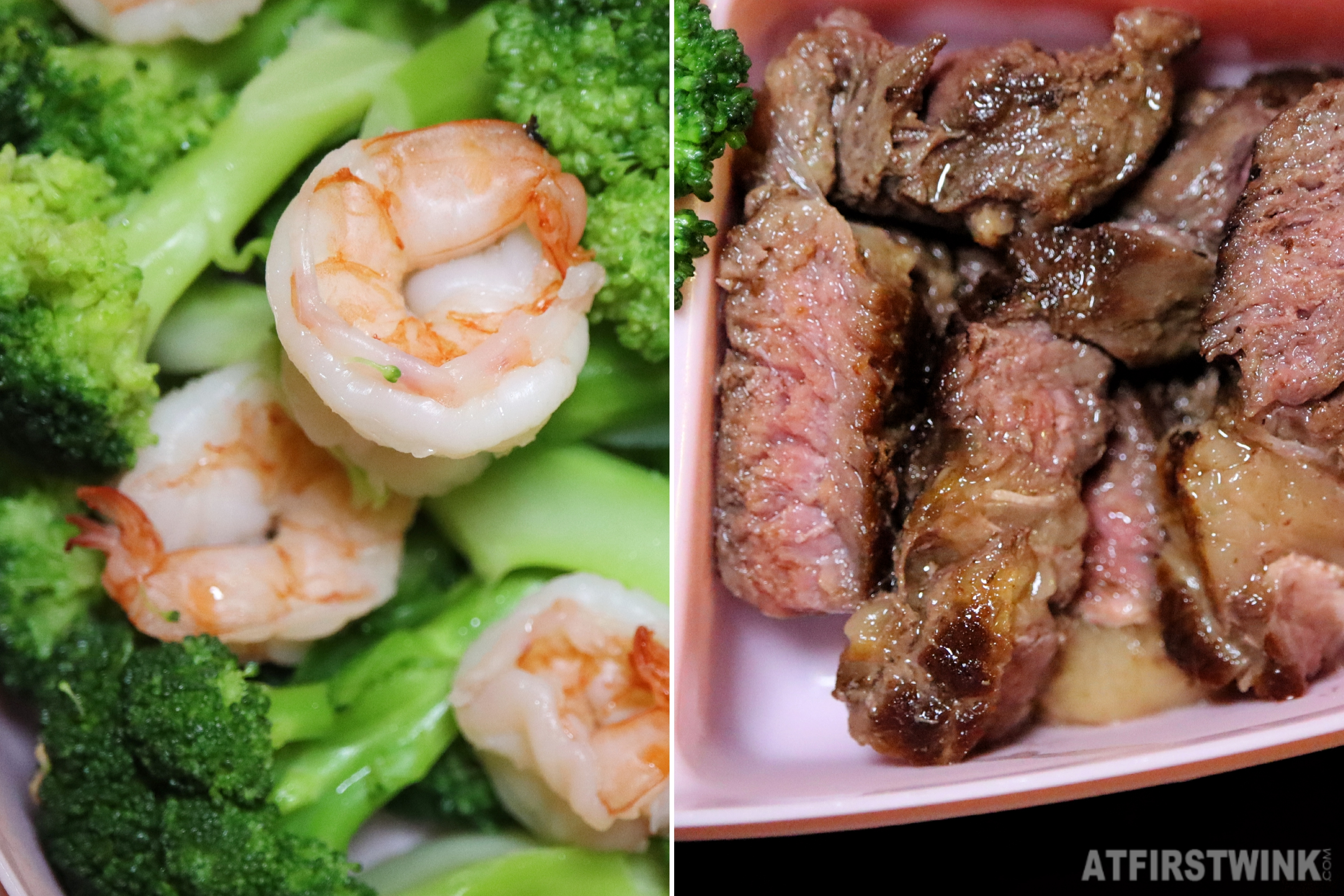 Zoomed in stirfried broccoli shrimp panfried steak