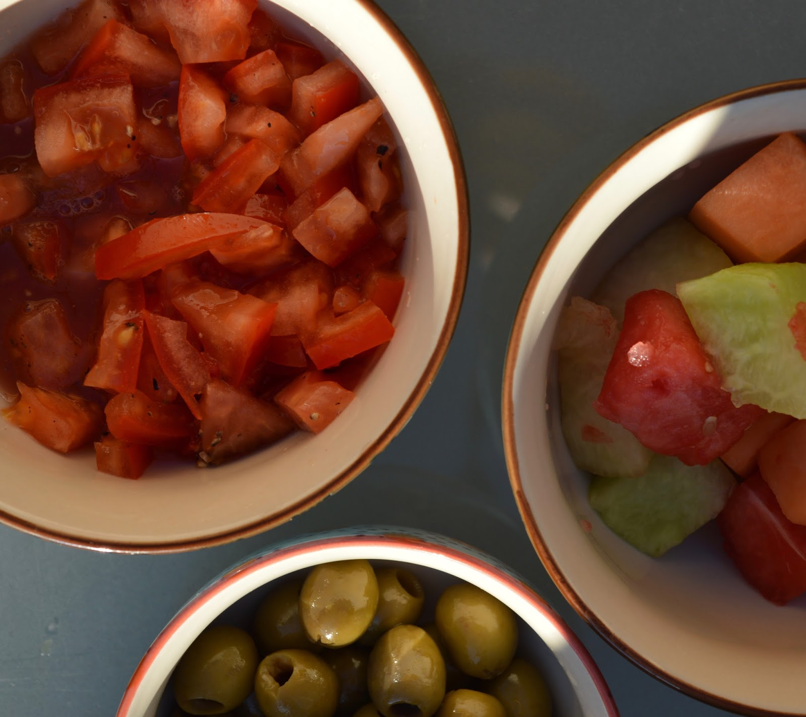 Top Tips for beating the post-holiday blues when you're back at home - tomatoes and olives