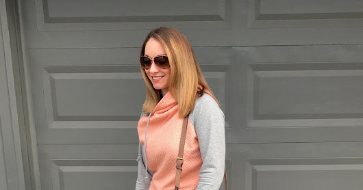 Quilted Peach & Grey Hoodie