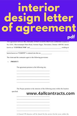 Residential interior design letter of agreement