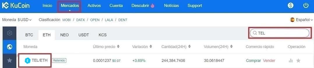 Comprar Telcoin (TEL) en Kucoin y Coinbase y Guardar en Monedero máxima seguridad