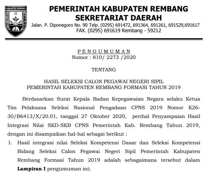 PENGUMUMAN HASIL SELEKSI CPNS PEMERINTAH KABUPATEN REMBANG FORMASI TAHUN 2019