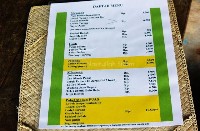 Daftar menu di Kopi Klotok Pakem