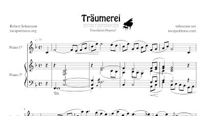 Traumerei Partitura de Dúo de dos Piano (Melodía + Piano acompañamiento) y Partitura del Piano acompañamiento