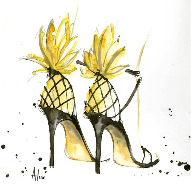 "Aquazzura ""Pina Colada"" pineapple sandals - Watercolor fashion illustration by Alessia Landi"