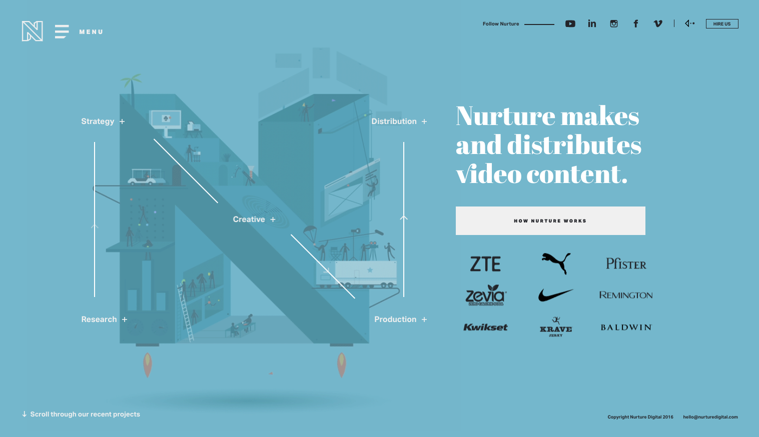 Nurturedigital.com is a good website design example for its excellent use of typography