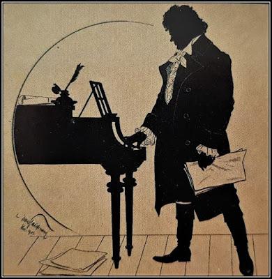 Ένα σκιάγραμμα του 18ου αιώνα εικονίζει τον Μπετόβεν να επεξεργάζεται μια σύνθεσή του.