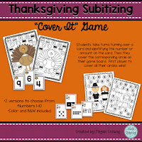 Thanksgiving Subitizing Cover It Game