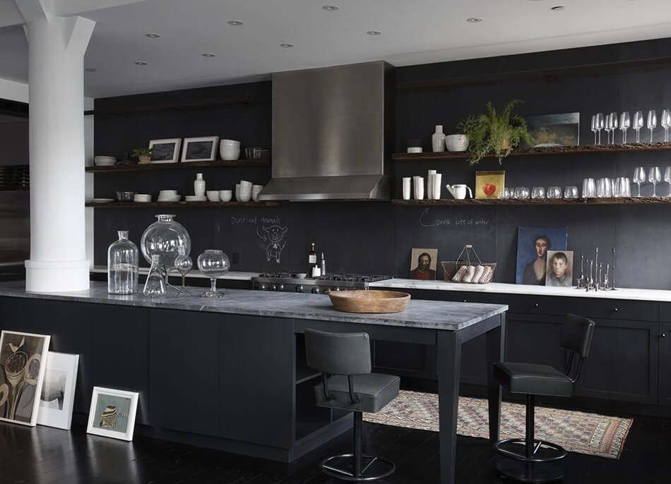 Black cabinets kitchen with open shelves