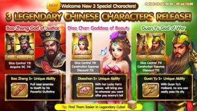Info 3 kartu karakter 3 legenda cina Get Rich terbaru