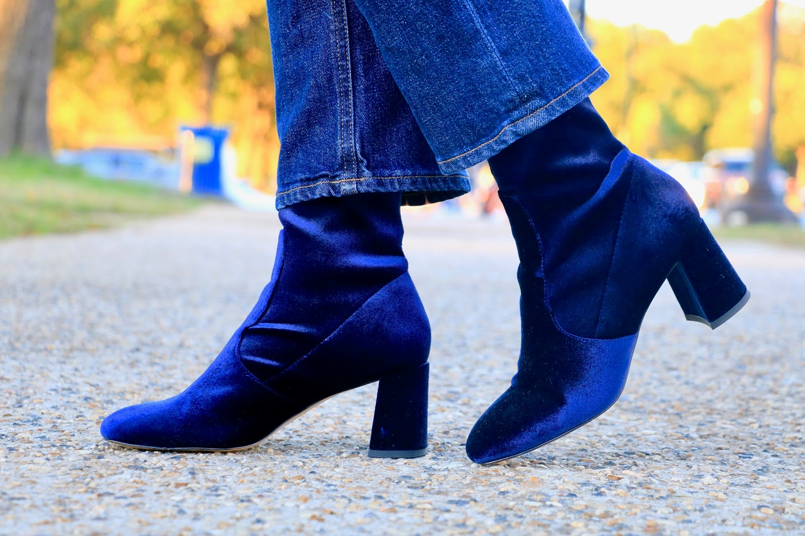 Nyc fashion blogger Kathleen Harper wearing velvet blue sock booties